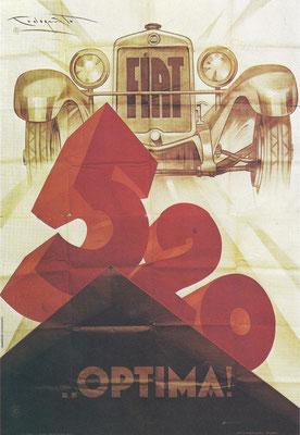 Een affiche uit 1927 van P.Codognato voor de Fiat 520.
