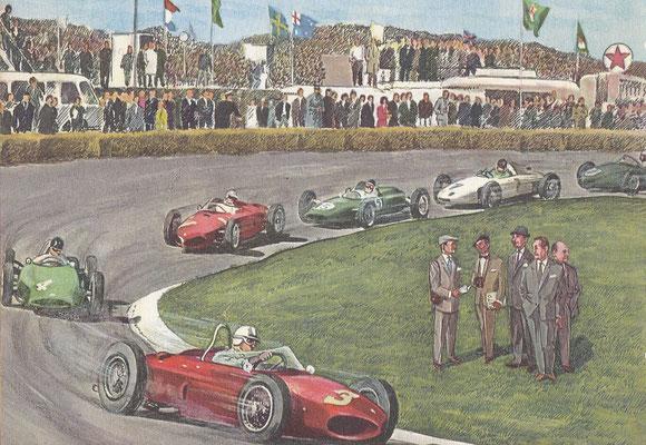 De Grote Prijs (Grand Prix) van Nederland in 1961. Na dit jaar werd de cilinderinhoud beperkt tot 1500 cc. Vanaf 1949 werden internationale wedstrijden gereden op het circuit van Zandvoort.
