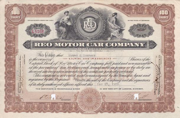 Certificaat voor 100 aandelen REO Motor Car Company uit 1919 met de handtekening van Richard H. Scott.