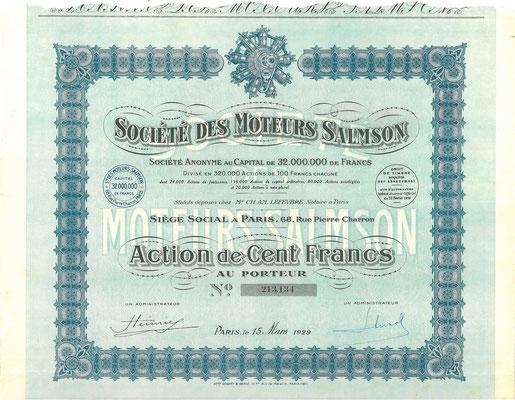 Aandeel Société des Moteurs Salmson S.A. uit 1929.