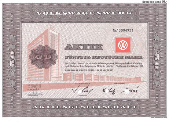 Aandeel (Aktie) DM 50 Volkswagenwerk A.G. Wolfsburg uit 1966.