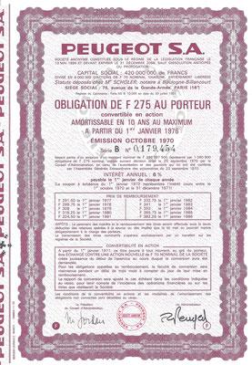 Obligatie Peugeot S.A. uit 1970.