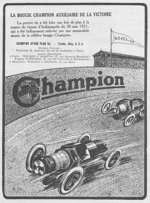 Franse advertentie Champion in l'Illustration uit 1922.