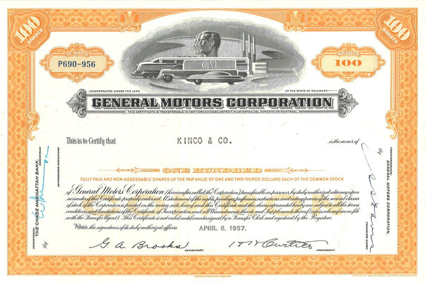 Certificaat voor 100 aandelen General Motors Corporation uit 1957.