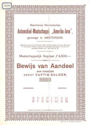 """Een aandeel Automobiel-Maatschappij """"Amerika-Java"""" uit 1916 (specimen)."""