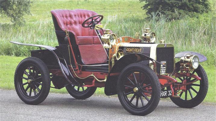 De Darracq 12-HP uit 1904 die een hoofdrol speelde in de film Genevieve.