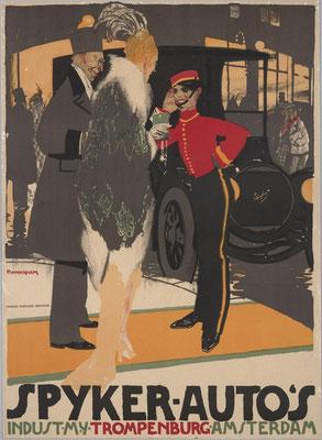Een poster van Piet van der Hem voor Spyker.