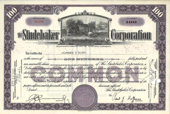 Certificaat voor 100 aandelen The Studebaker Corporation uit 1935.
