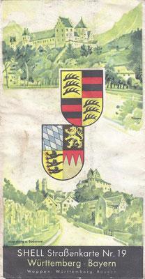 SHELL Strassenkarte, Nr.19 Württemberg - Bayern (na 1924, vóór 1940).