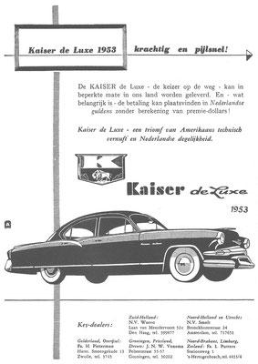 Een Nederlandse advertentie voor de Kaiser de Luxe uit 1953.