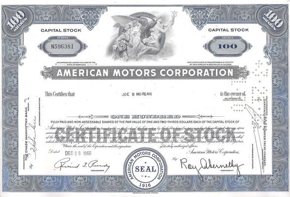 Certificaat voor 100 aandelen American Motors Corporation uit 1966.