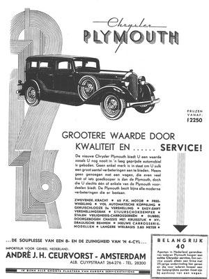 Nederlandse advertentie voor Plymouth.