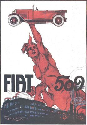Een affiche uit 1925 van P.Codognato voor de Fiat 509.