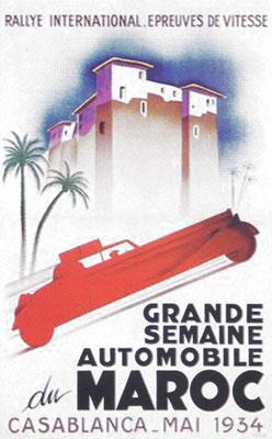 Een affiche voor de rally in Casablanca in 1934.