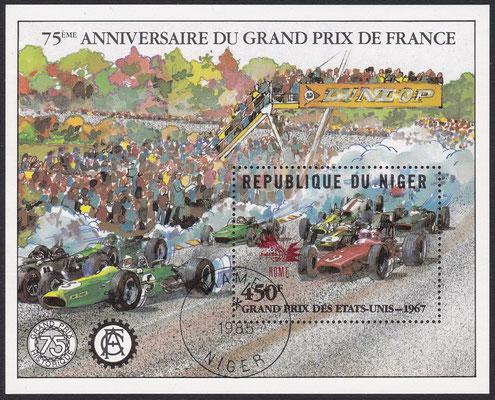 Postzegel Niger, 75ème Anniversaire de Grand Prix de France, uit 1981.