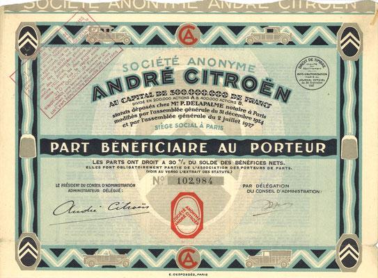 S.A. André Citroën, obligatie uit 1927.