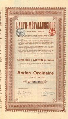 Aandeel L'Auto Métallurgique uit 1919. Kapitaal 3.000.000 Francs. Dit stuk (met een ander nummer) is te koop, prijs € 10,00 email: info@automobielhistorie.com