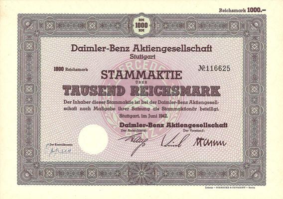 Aandeel (Stammaktie) 1000 RM Daimler-Benz A.G. Stuttgart uit 1942.