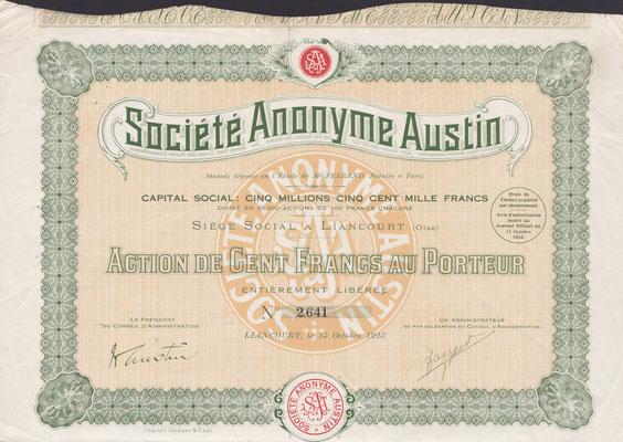 Aandeel S.A. Austin uit 1923, gedrukt door Charles Skipper & East uit Londen.