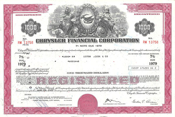 Obligatie Chrysler Financial Corporation, 1.000 dollars uit 1977.