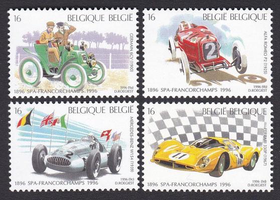 Postzegels België, honderdjarig bestaan Spa-Francorchamps, uit 1996.