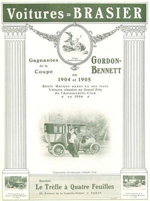 Een advertentie van Brasier uit 1907.