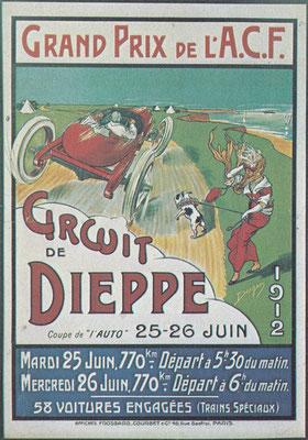 Affiche voor de Grand Prix in 1912 van de l'Automobile Club de France (de formele benaming van de Franse Grand Prix). Op de affiche is te zien dat een deel van het circuit van Dieppe parallel aan de kust liep.