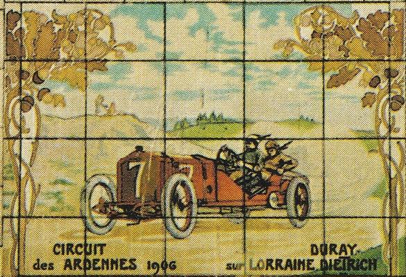 Duray met een Lorraine Dietrich tijdens de wedstrijd op het Circuit des Ardennes in 1906.