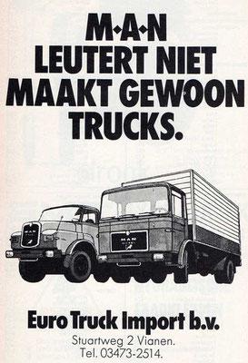 Een Nederlandse advertentie voor M.A.N. uit 1974.