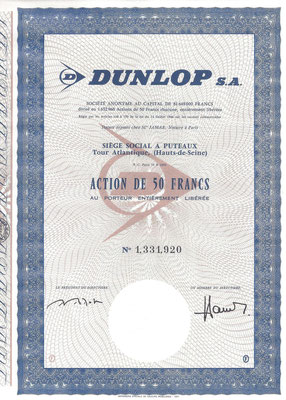 Een aandeel Dunlop S.A.