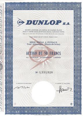Aandeel 50 Francs Dunlop S.A.