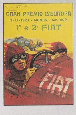 Een postkaart van Fiat uit 1923 ontworpen door P. Codognato.