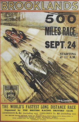 Een poster voor de 500 miles race op Brooklands.