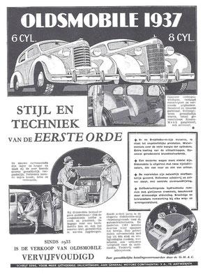Nederlandse advertentie voor Oldsmobile uit 1937.
