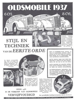 Nederlandse advertentie Oldsmobile uit 1937.