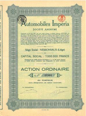 Aandeel Automobiles Impéria S.A. uit 1926. Kapitaal 7.500.000 Francs.