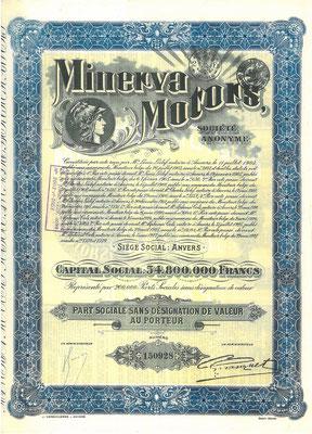 Aandeel Minerva Motors S.A. uit 1927.