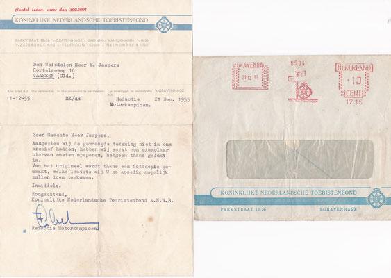 Brief Koninklijke Nederlandsche Toeristenbond uit 1955.