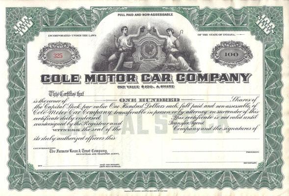 Certificaat voor 100 aandelen Cole Motor Car Company, blanket.
