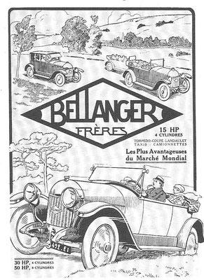 Een advertentie van Bellanger Frères van na 1918.
