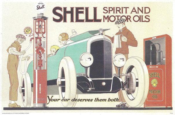 Reclame voor Shell ontworpen door René Vincent.