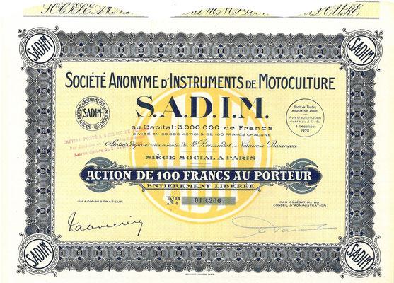 Een aandeel Société Anonyme d'Instruments de Motoculture S.A.D.I.M. uit 1928.