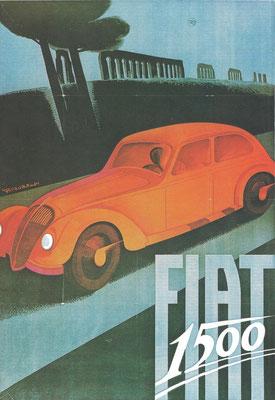 Een affiche uit 1935 van C. Riccobaldi voor de Fiat 1500.