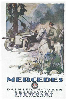 Een affiche van Daimler voor Mercedes uit 1917.