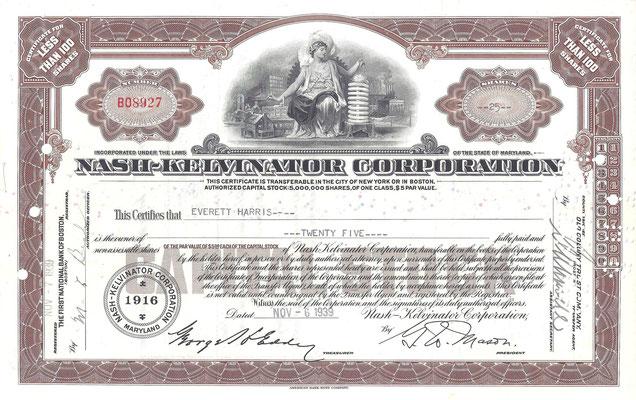 Certificaat voor 25 aandelen Nash-Kelvinator Corporation uit 1939.