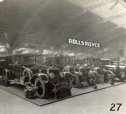 Stand van A.G.A.M. op de RAI-autotentoonstelling in 1924 met een Rolls-Royce, een Hudson en de Essex.