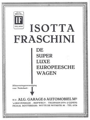 Nederlandse advertentie voor Isotta Fraschini uit 1930.