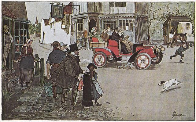 In 1903 was de verschijning van een auto in een Engels dorp nog een bijzondere gebeurtenis.