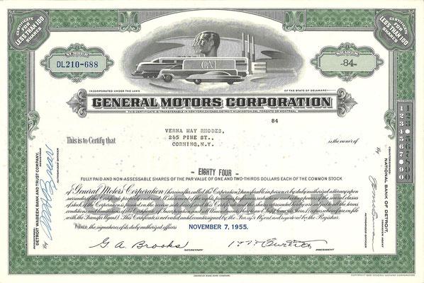 Certificaat voor 84 aandelen General Motors Corporation uit 1955.
