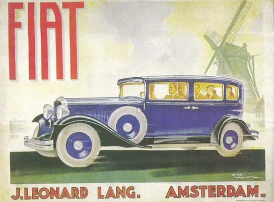 Een Fiat advertentie van de Friese illustrator Sytze Hemstra.